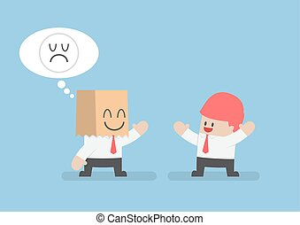Businessman hide his sad emotions behind a smiling paper bag