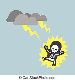Businessman hit by lightning strike, VECTOR, EPS10