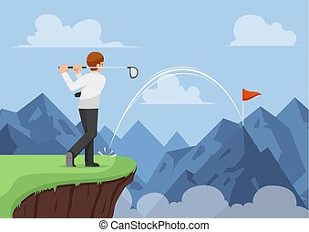 Businessman hit golf and making a hole in one across the mountain.