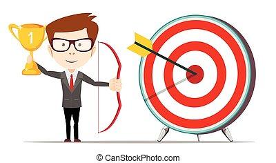 Businessman hit the target.