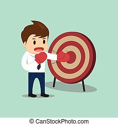 Businessman hitting the target vector illustration