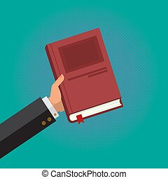 Businessman Hold a Book in His Hand, Business Foundation Bible in the iSolated Green Background.