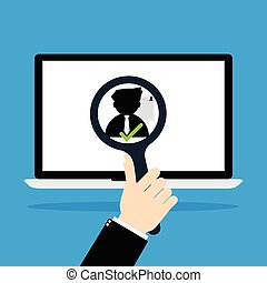 Businessman hold a magnifying glass for choosing the right personal with resume the best candidate on internet laptop computer. Vector illustration recruitment and job search concept.