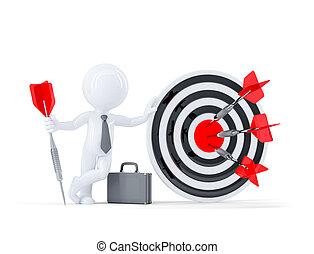 Businessman hold big archery target.