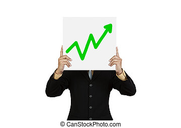 Businessman hold board with green graph up