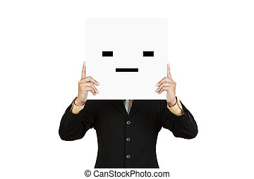 Businessman hold board with squint face emoticon isolated on...