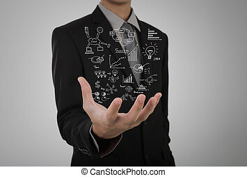 Businessman hold business concept