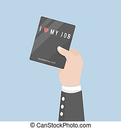 businessman hold love cards work