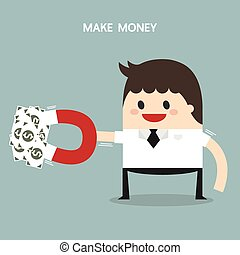 Businessman hold magnet attracting money, flat design, business concept