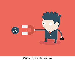 Businessman hold magnet attracting money. happy business concept.