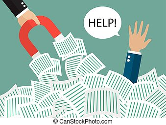 Businessman hold magnet help businessman under a lot of documents