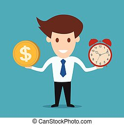 Businessman hold money and clock. Concept vector