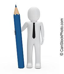 businessman hold pencil