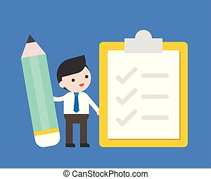 Businessman hold pencil with check list, survey and to do list concept