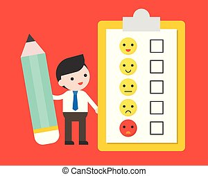 Businessman hold pencil with Satisfaction Form for feedback