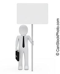 businessman hold signboard