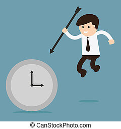 Businessman hold the arrow killing the time