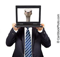 businessman hold the computer with Ostrich head