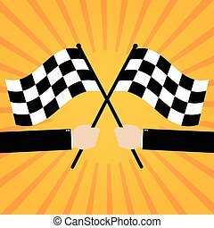 Businessman hold two finish checker flags crossed on orange sunrays background. Vector illustration business success concept design.