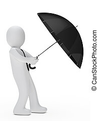 businessman hold umbrella and wind blows