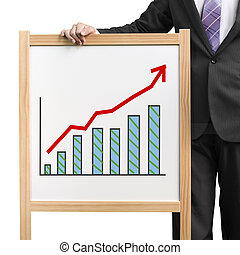 Businessman hold wooden white board with flourish market trend and histogram drawing in white background