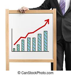 Businessman hold wooden white board with flourish market ...