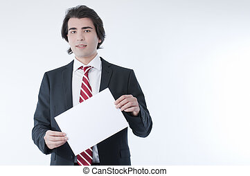 Businessman holdind an empty advert