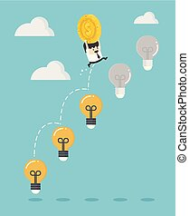 businessman holding a and jumping on a light bulb