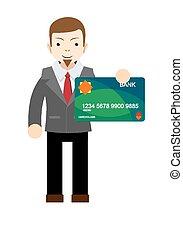 Businessman holding a bank card