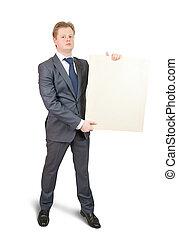 Businessman holding a banner