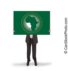 Businessman holding a big card, flag of the African Union