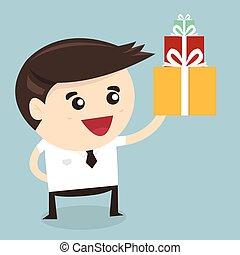 Businessman holding a big gift box Christmas present, flat design, vector