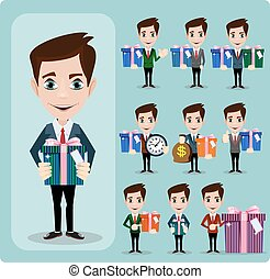Businessman holding a big gift box. set