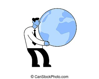 Businessman holding a big globe in his hands. Cartoon vector illustration. Flat style. Isolated on white background.