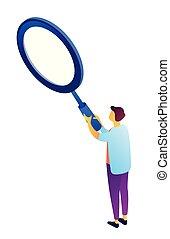 Businessman holding a big magnifier isometric 3D illustration.