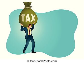 Businessman holding a big money bag with the word tax