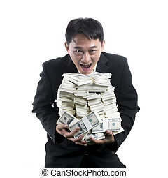 Businessman holding a big pile of money in his arms on white background