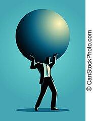 Businessman holding a big sphere