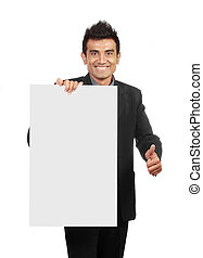 Businessman holding a blank sign one hand showing thumb up