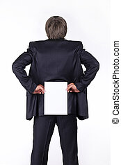 businessman holding a blank white board on his back