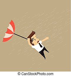 businessman holding a blow umbrella in the middle of a rainstorm