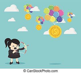 Businessman holding a bow  shoot money dollar balloon