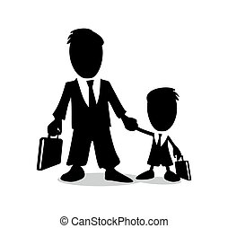 Businessman holding a briefcase and your child.