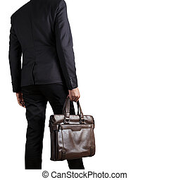 Businessman holding a briefcase isolated on white background with clipping part