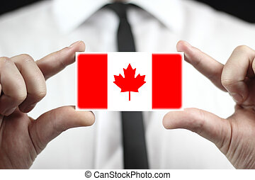 business card with a Canada Flag