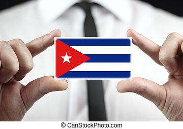 business card with a Cuba Flag