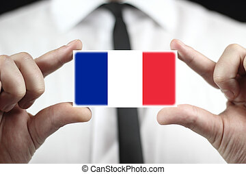 business card with a France Flag