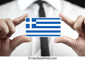 business card with a Greece Flag