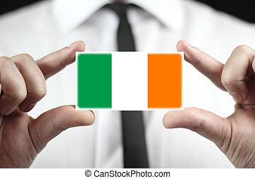 business card with a Ireland Flag