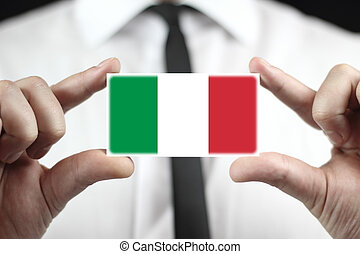 business card with a Italy Flag